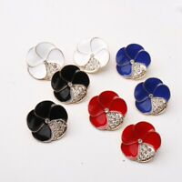 Fashion Ear Stud Earrings Crystal Dangle Metal Flower Women Jewelry Accessories