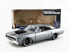 Fast and Furious Dom's Plymouth grau Road Runner Diecast Auto Modell 1/24