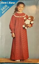Vtg Butterick See & Sew pattern 3408 Girls' ankle length Nightgown size 2, 3, 4