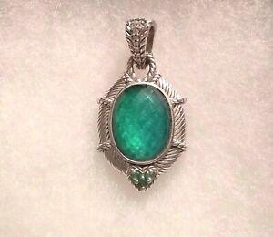 Judith Ripka Sterling Silver & Green Goddess Doublet Enhancer ~NEW~
