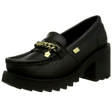 New Women's Kickers Klio Chain Block Heel Loafer Black Size UK 7 EUR 41