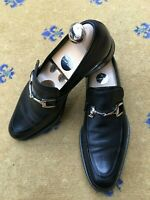 Gucci Mens Shoes Black Leather Horsebit Loafers UK 6.5 US 7.5 EU 40.5