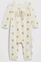 Baby Gap Girls 0-3 Months Ivory White & Gold Polka Dot Logo Romper Jumpsuit. Nwt