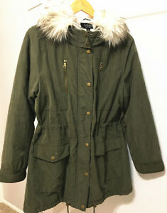 Coffee Shop New York Jacket Dark Green/ Faux Fur Womens SZ X-Large