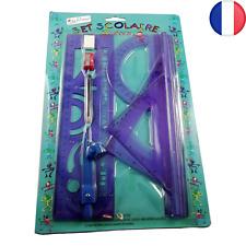 2X Set écolier Règle Equerre Compa Rapporteur Taille Crayon Gomme 18pcs