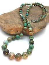 "Native American Navajo Sterling Silver Green Turquoise Necklace 28"" 4424"