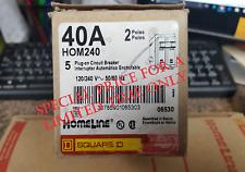 Hom240 Square D. Circuit Breaker 2 Pole 40 Amp 120/240 Volt