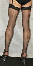 2 Pairs Medium Black Seamed LaceTop Fine Fishnet Stockings Suspender Friendly