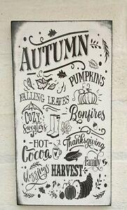 Rustic Autumn pumpkins thanksgiving harvest shabby vintage chic sign plaque