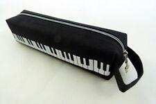Music Themed Black Keyboard Design Tube Shape Zipper Pencil Case with Hand Handl