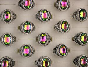 Wholesale Job Lots 60pcs Oval Glass Jewelry Charm Mixed Alloy Women Mens Rings