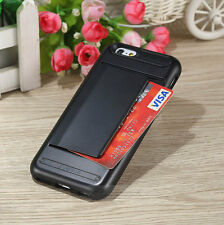 PC Hybrid Shockproof Credit Card Holder Case Cover For iPhone 5S 6 6S Plus