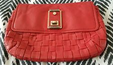 WITCHERY Red Leather Woven Clutch Handbag Bag