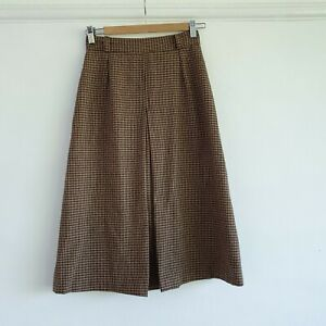 Vintage 100% Wool Brown Houndstooth Patterned Skirt Retro Country Style S