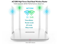 AC1200 High Power WIFI Wireless Router Dual Band 2.4G/5GHz 4 Antennas, 4 Ports