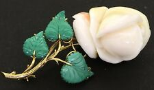 Heavy jumbo 18K gold 35.7 X 27mm carved coral & malachite rose flower brooch