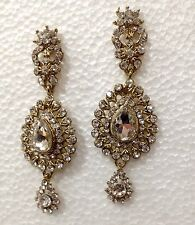 Cristal Argent Strass Style Vintage Lustre Long Drop Dangle Earrings