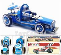 MS269 Vintage Blue Racer Car Retro Clockwork Wind Up Tin Toy w/Box
