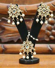 Indian Kundan Genuino Tradicional Doble Pendientes Bollywood más reciente nos Perlas Blancas