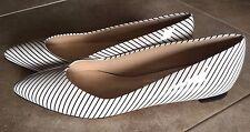 NEW MARCHEZ VOUS WHITE PATENT BLACK STRIPE BALLET DRESS FLAT SHOES 8.5 Last