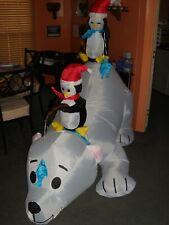 Christmas Airblown Inflatable Polar Bear with Penguins (8.5' Long)