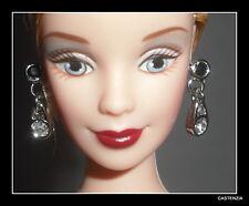 JEWELRY BARBIE DOLL AA ANNIVERSARY GLAMOUR FAUX SILVER DIAMOND DANGLE EARRINGS