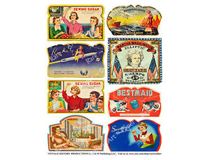 Needle Book Sewing Labels, 1 Sticker Sheet, Vintage Advertising Reproductions