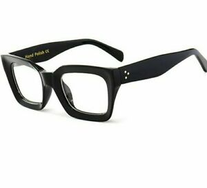 Square Frames Transparent Eyeglass Wear For Women Retro Clear Lens Solid Pattern
