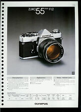 Factory 1978 Olympus Zuiko 55mm F1.2 Camera Lens Dealer Data Sheet Page
