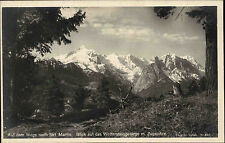 St. Martin Grasberg Bayern alte AK 1926 Berge Zugspitze mit lila Stempel