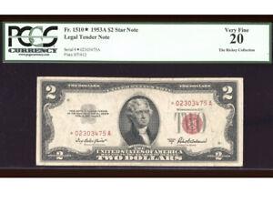 1953-A $2 Legal ⭐️STAR Fr. 1510* PCGS VF-20 Serial *02303475A