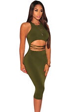 Abito cono aperto nudo stringhe Aderente Open Back Cut Out Club Bodycon Dress M