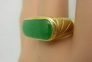 Mens GIA Certified No Dye Jadeite Jade Ring 14k Yellow Gold Saddle Size 8.5