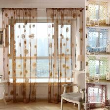Sun Flower Net & Voile Screening Window Curtains Sheer Drape Panel Home Decor Us