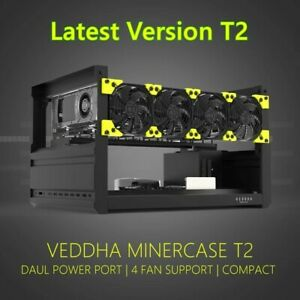 USA STOCK VEDDHA 6 GPU Aluminum Stackable Open Air Mining Ethereum Frame Rig T3