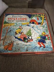 Excelsior Yuletide Assortment-Vintage Xmas Biscuit Tin-Children Playing in Snow