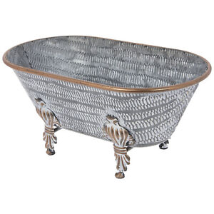 Whitewash Claw Foot Tub Metal Small Planter. Vintage Home Accent