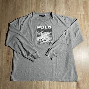 Vintage Polo Sport Tee Shirt LS Gray Sportsman 90s Rare XL