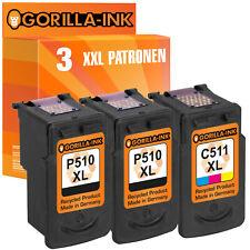 3 Patronen XXL für Canon Pixma MP499 MX320 MX330 MX340 MX340RFB PG-510 & CL-511
