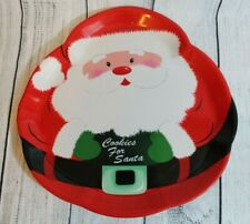 """"""" Cookies for Santa """"Platter Holiday Winter Christmas 14"""" Plastic Serving Tray"""