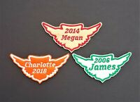 Personalised Embroidered Name Patch Badge Wings Iron on sew on