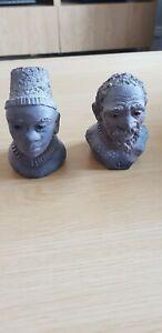 Zulu clay busts South African, Handmade