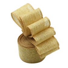 5 Meters Jute Burlap Ribbon with Gold Net Mesh Wrap for Gift Wrapping 50mm