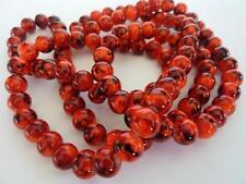 100 pce Round Orange Red Drawbench Glass Spacer Beads 8mm Jewellery Making Craft