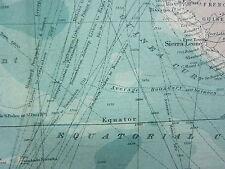 1921 mappa di grandi dimensioni ~ sud nell' Oceano Atlantico STEAMER rotte Sud America Africa