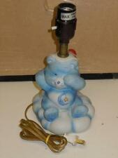 "Vintage 9"" Ceramic Care Bears Blue Bed Time Table Lamp MCMLXXXIIII American Corp"