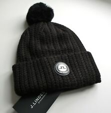 e0598518ec1 J.LINDEBERG Womens Sweden 50% Wool Chunky BLACK BOBBLE Hat Beanie Toque  Pompom
