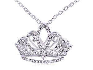 Women Princess Girl Birthday Crown Silver Crystal Rhinestone Pendant Necklace