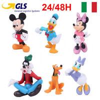 TOPOLINO SET 6 PERSONAGGI FIGURE statuette torta disney Mickey Mouse paperino X