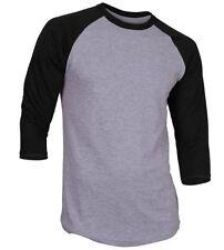 3/4 Sleeve Raglan Baseball Mens Plain Tee Jersey Sports T-Shirt Gray Black XL